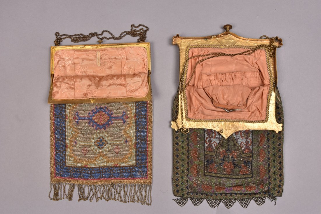 TWO CARPET DESIGN MICRO STEEL BEADED BAGS, EARLY 20th - 2