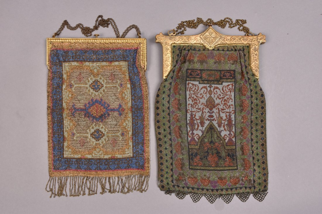 TWO CARPET DESIGN MICRO STEEL BEADED BAGS, EARLY 20th - 3