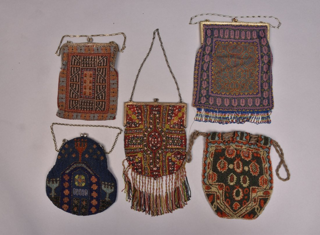 FIVE POLYCHROME CARPET DESIGN BEADED BAGS, EARLY 20th