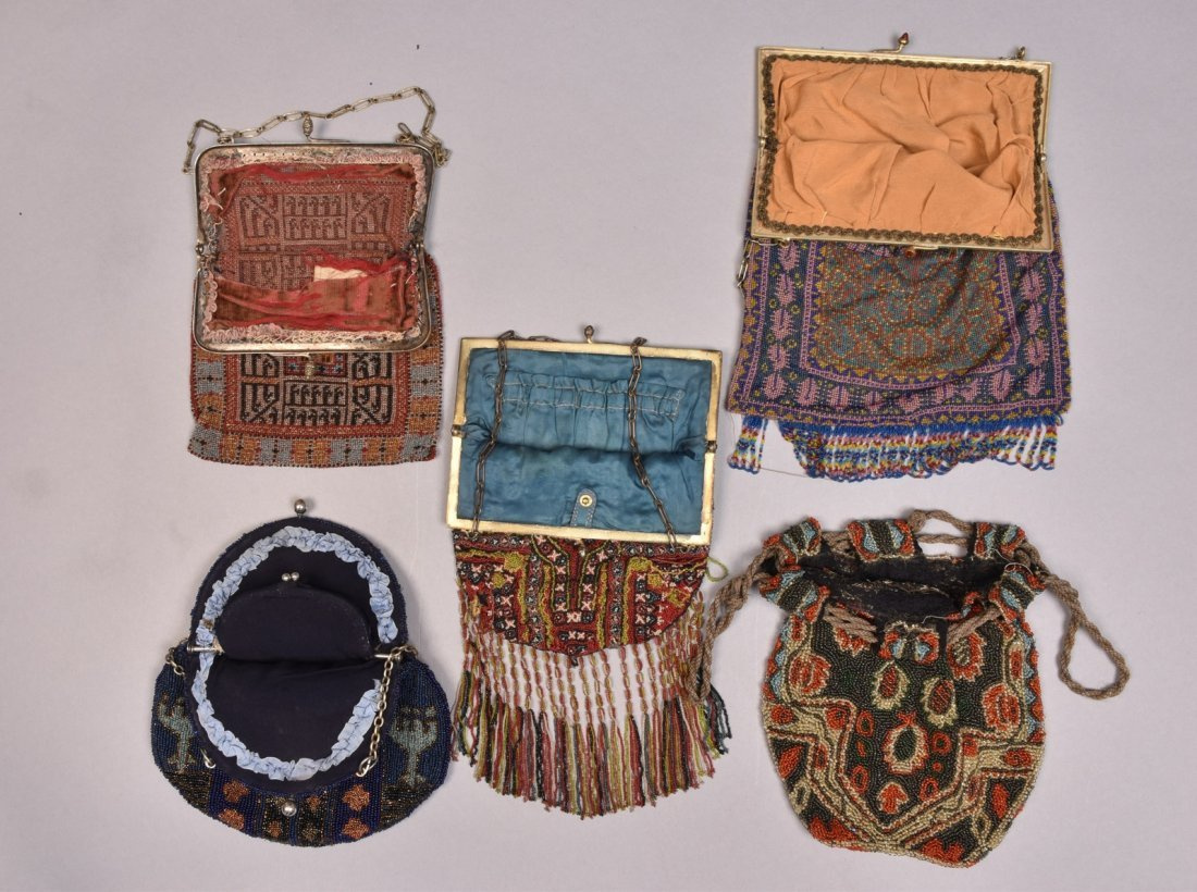 FIVE POLYCHROME CARPET DESIGN BEADED BAGS, EARLY 20th - 3