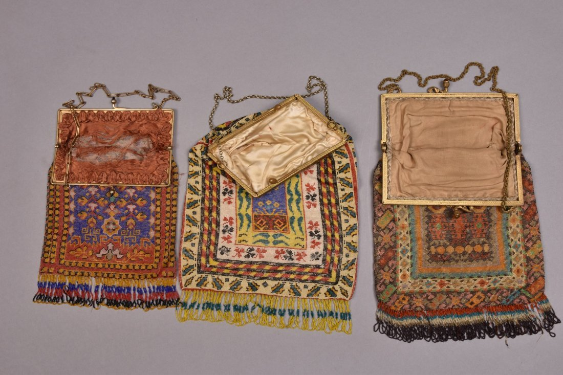 THREE LARGE CARPET DESIGN BEADED BAGS, EARLY 20th C. - 2