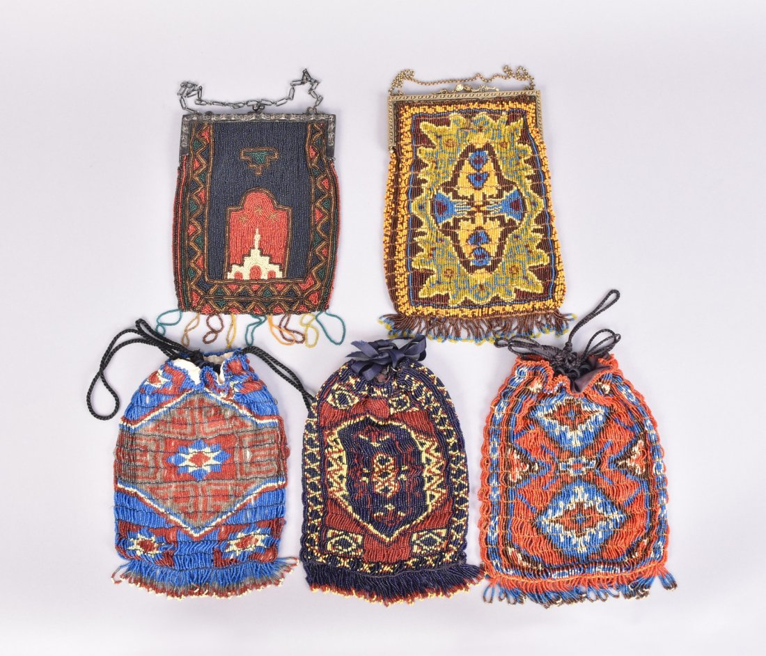 FIVE COLORFUL CARPET DESIGN BEADED BAGS, EARLY 20th C.