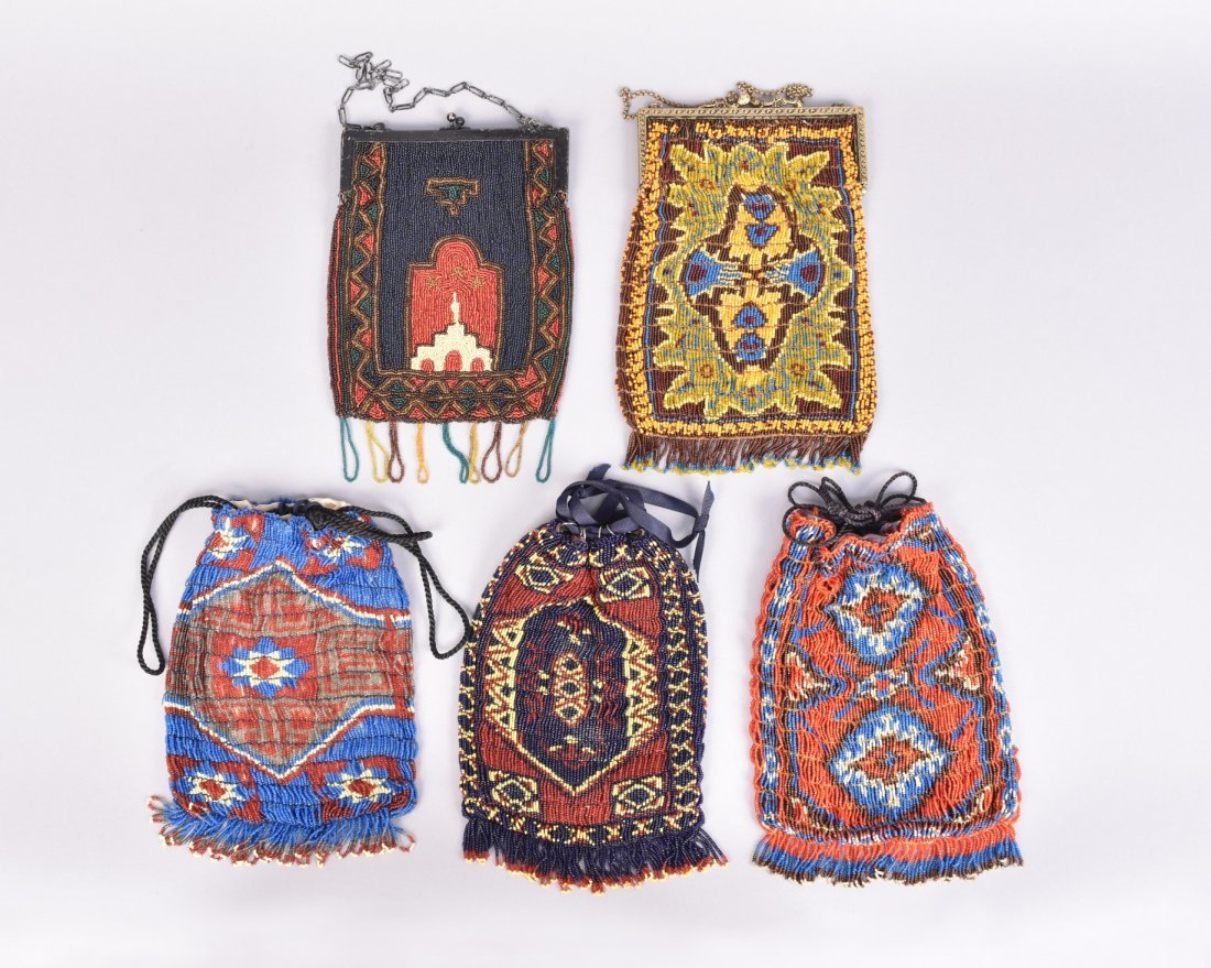 FIVE COLORFUL CARPET DESIGN BEADED BAGS, EARLY 20th C. - 2