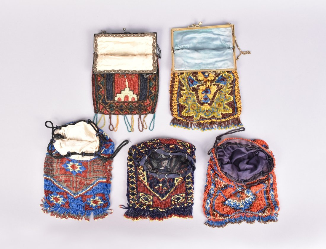 FIVE COLORFUL CARPET DESIGN BEADED BAGS, EARLY 20th C. - 3
