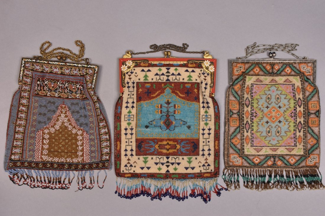 THREE LARGE CARPET DESIGN BEADED BAGS, EARLY 20th C.