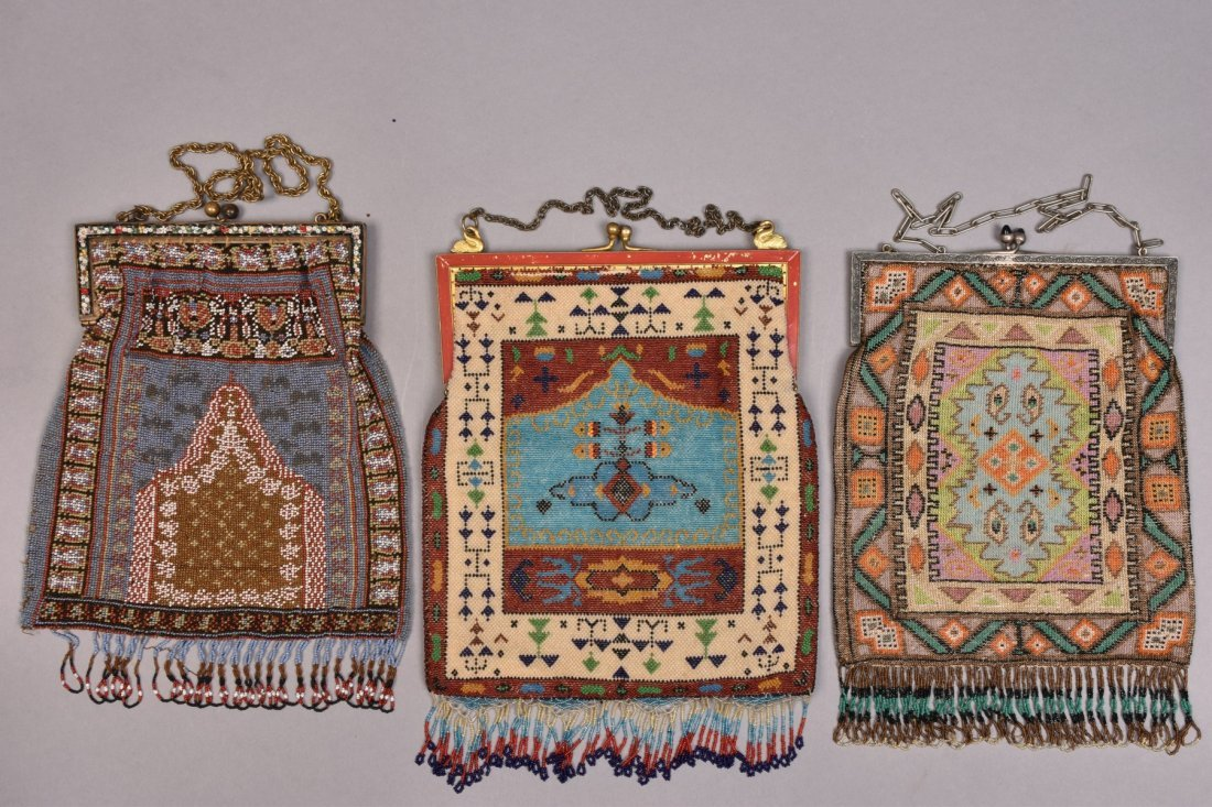 THREE LARGE CARPET DESIGN BEADED BAGS, EARLY 20th C. - 3
