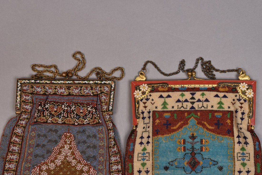 THREE LARGE CARPET DESIGN BEADED BAGS, EARLY 20th C. - 4