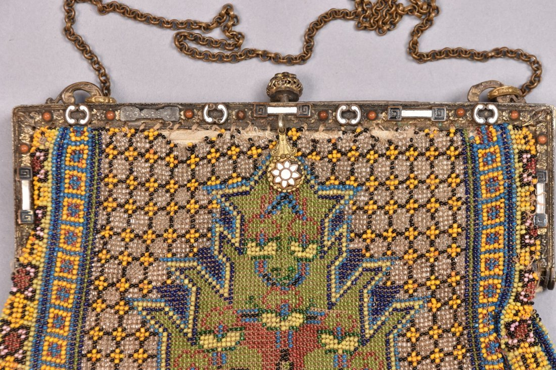 TWO OVERSIZED CARPET DESIGN BEADED BAGS, EARLY 20th C. - 2