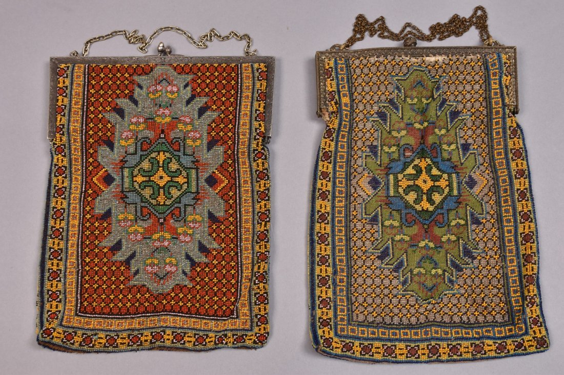 TWO OVERSIZED CARPET DESIGN BEADED BAGS, EARLY 20th C. - 4