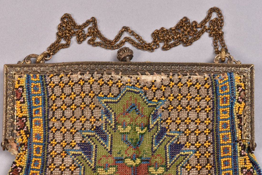 TWO OVERSIZED CARPET DESIGN BEADED BAGS, EARLY 20th C. - 5