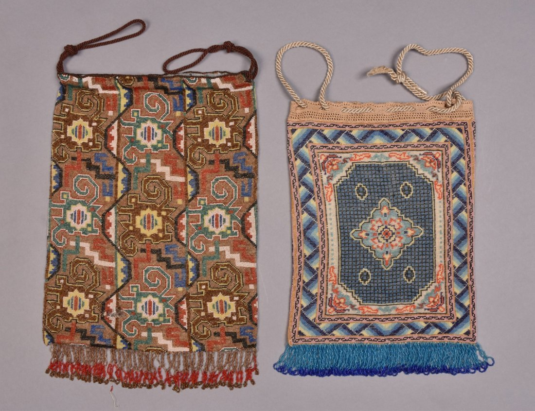 LARGE and OVERSIZED MICRO-BEADED BAGS, EARLY 20th C.
