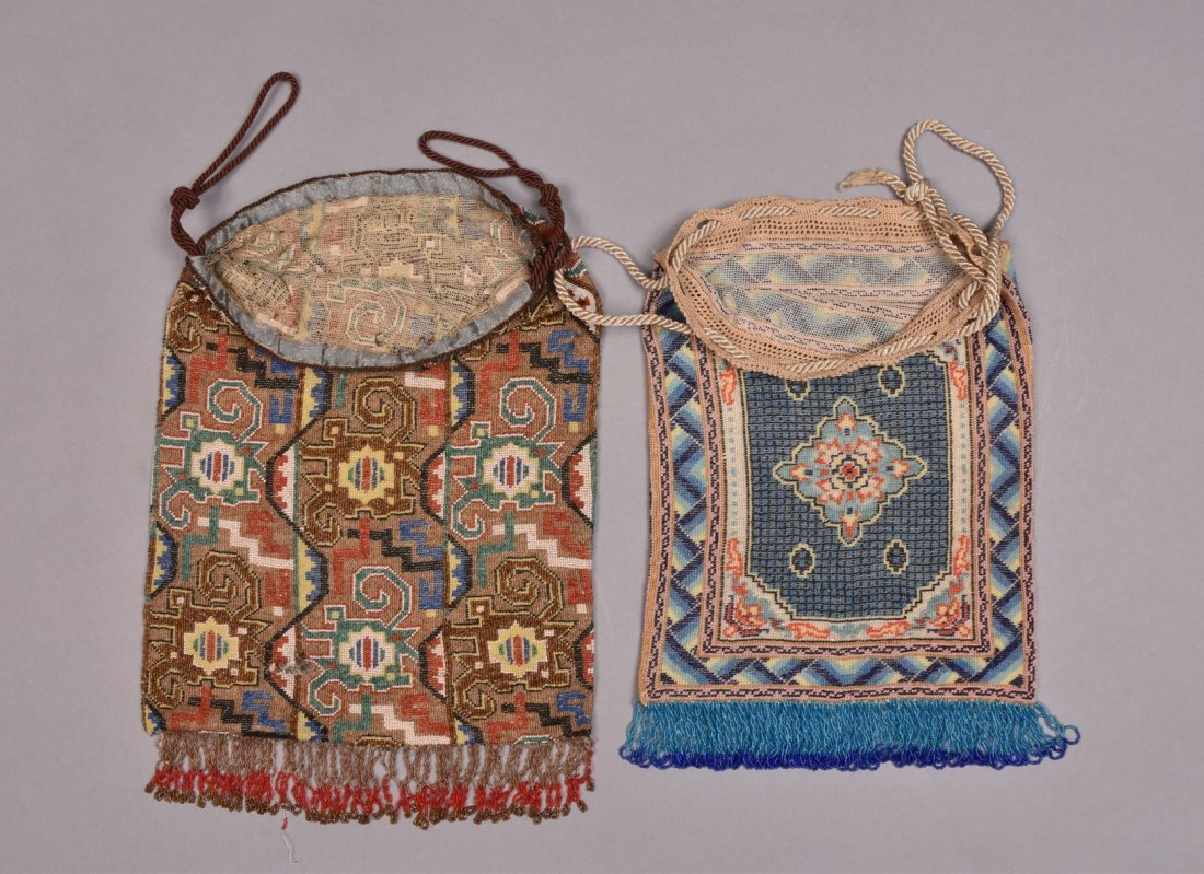 LARGE and OVERSIZED MICRO-BEADED BAGS, EARLY 20th C. - 2