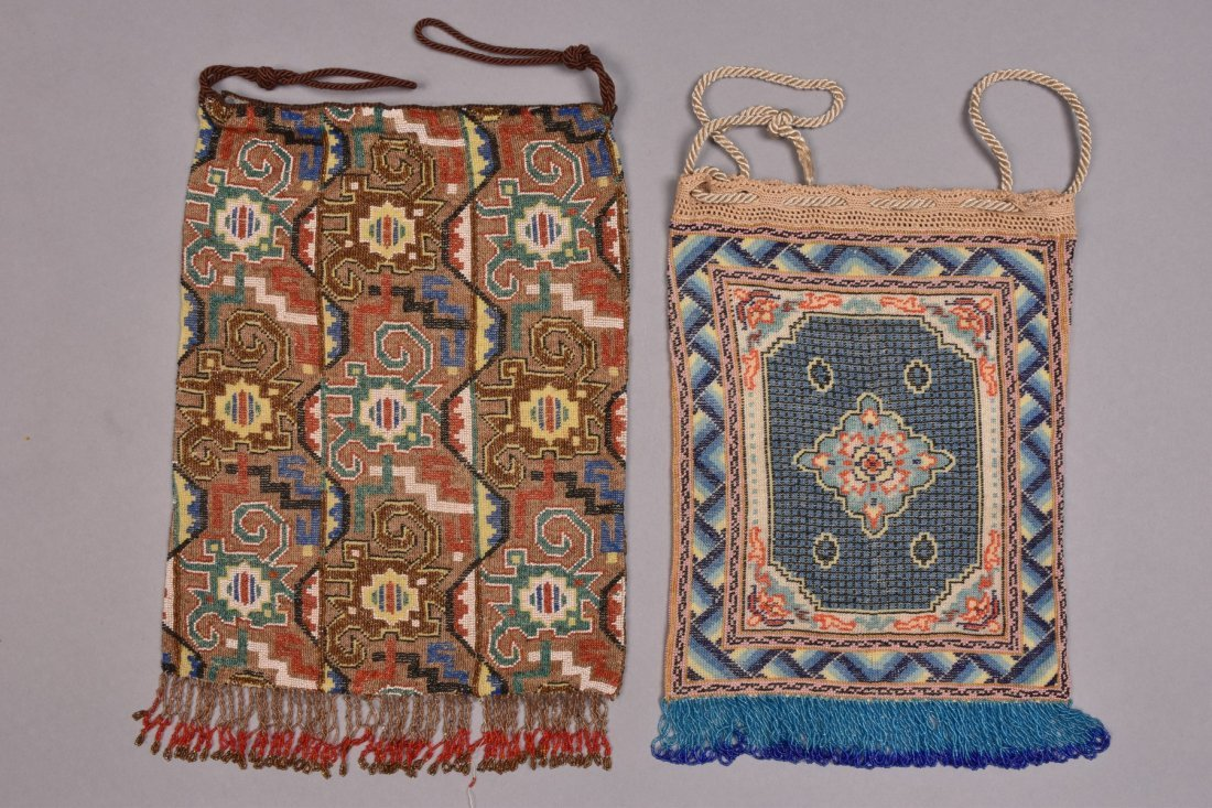LARGE and OVERSIZED MICRO-BEADED BAGS, EARLY 20th C. - 4