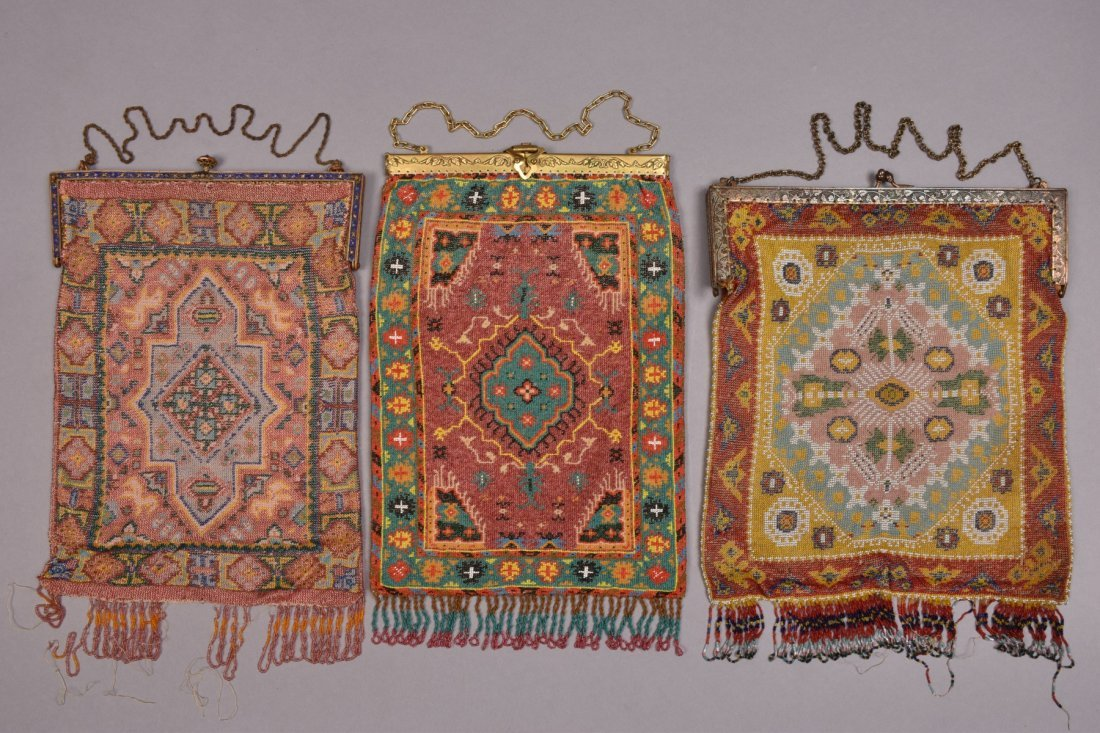 THREE OVERSIZED CARPET DESIGN MICRO-BEADED BAGS, EARLY
