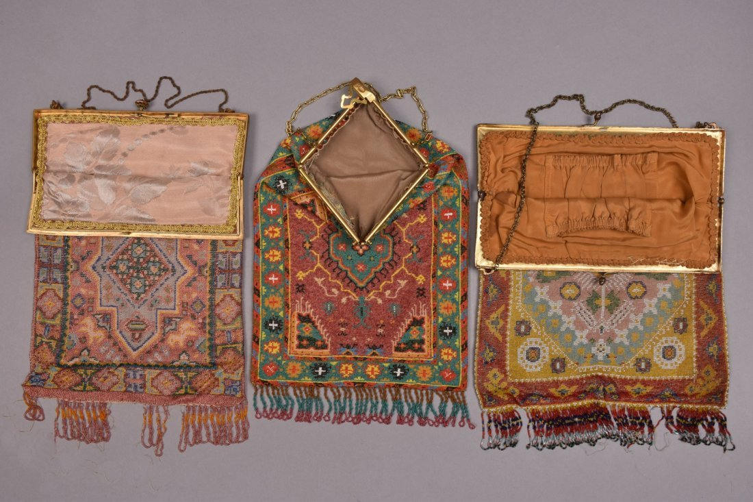 THREE OVERSIZED CARPET DESIGN MICRO-BEADED BAGS, EARLY - 2