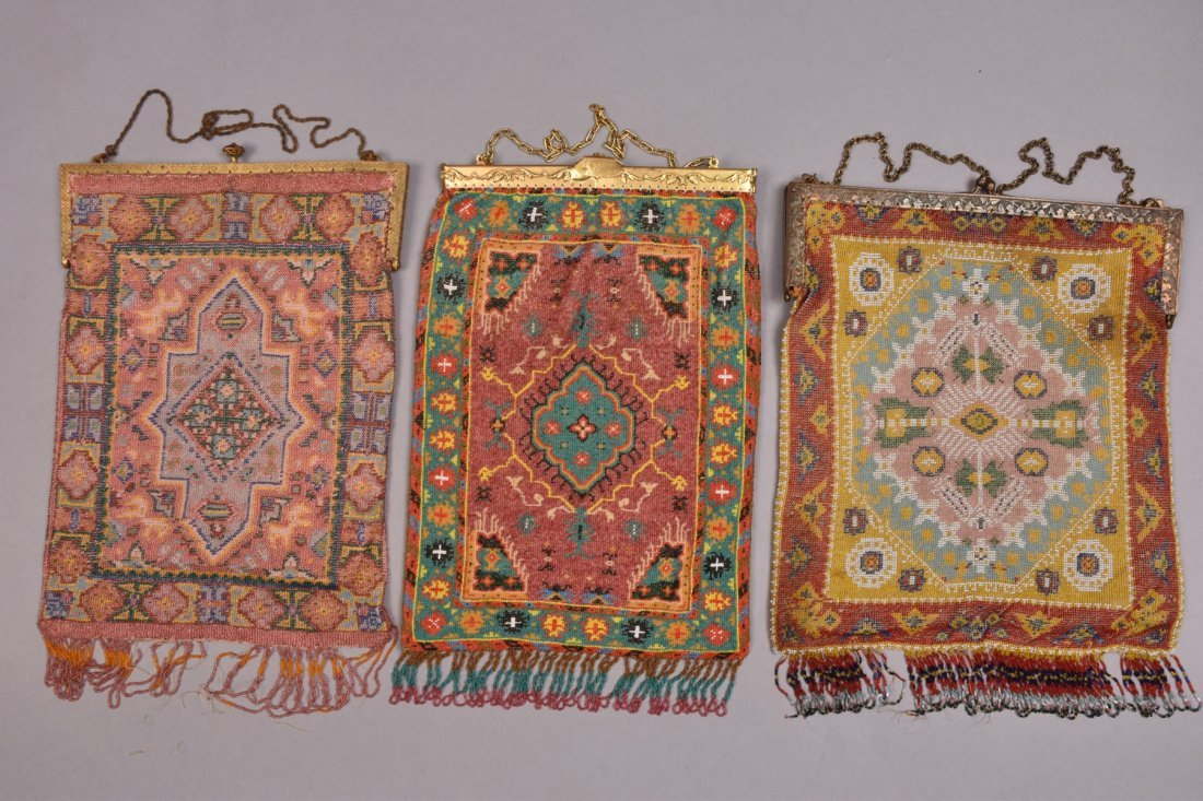 THREE OVERSIZED CARPET DESIGN MICRO-BEADED BAGS, EARLY - 3