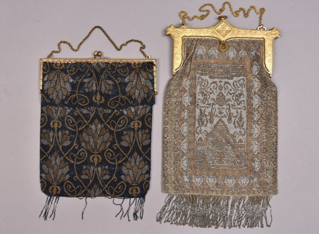 TWO OVERSIZED FRENCH MICRO STEEL BEADED BAGS, EARLY