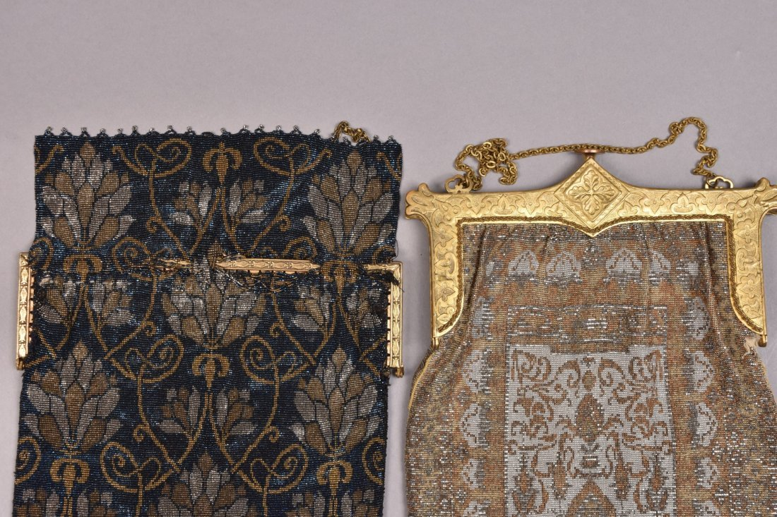 TWO OVERSIZED FRENCH MICRO STEEL BEADED BAGS, EARLY - 2