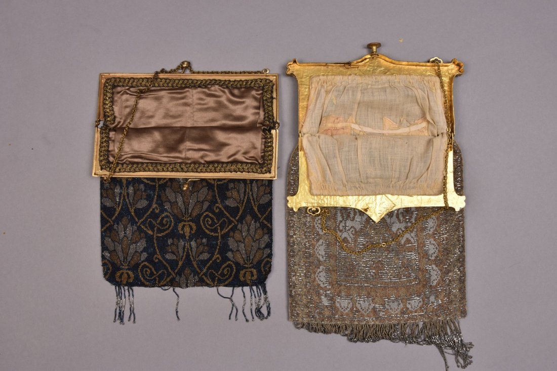 TWO OVERSIZED FRENCH MICRO STEEL BEADED BAGS, EARLY - 3