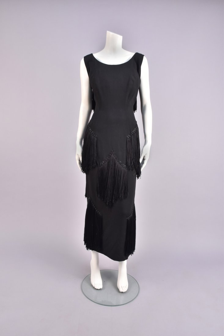 WORTH FRINGED and BEADED DRESS, 1940s