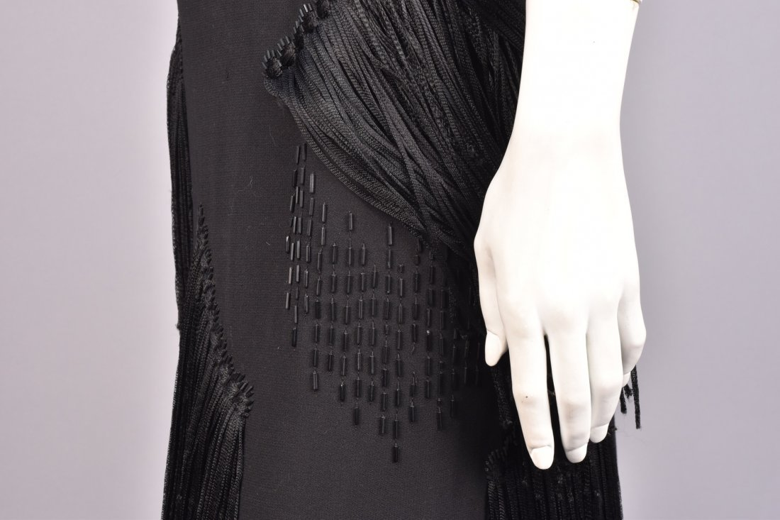 WORTH FRINGED and BEADED DRESS, 1940s - 3