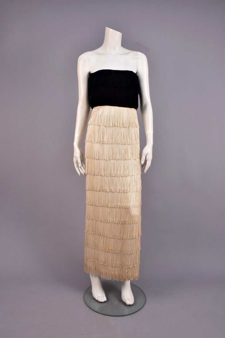 2-TONE STRAPLESS FRINGED EVENING DRESS, 1940s