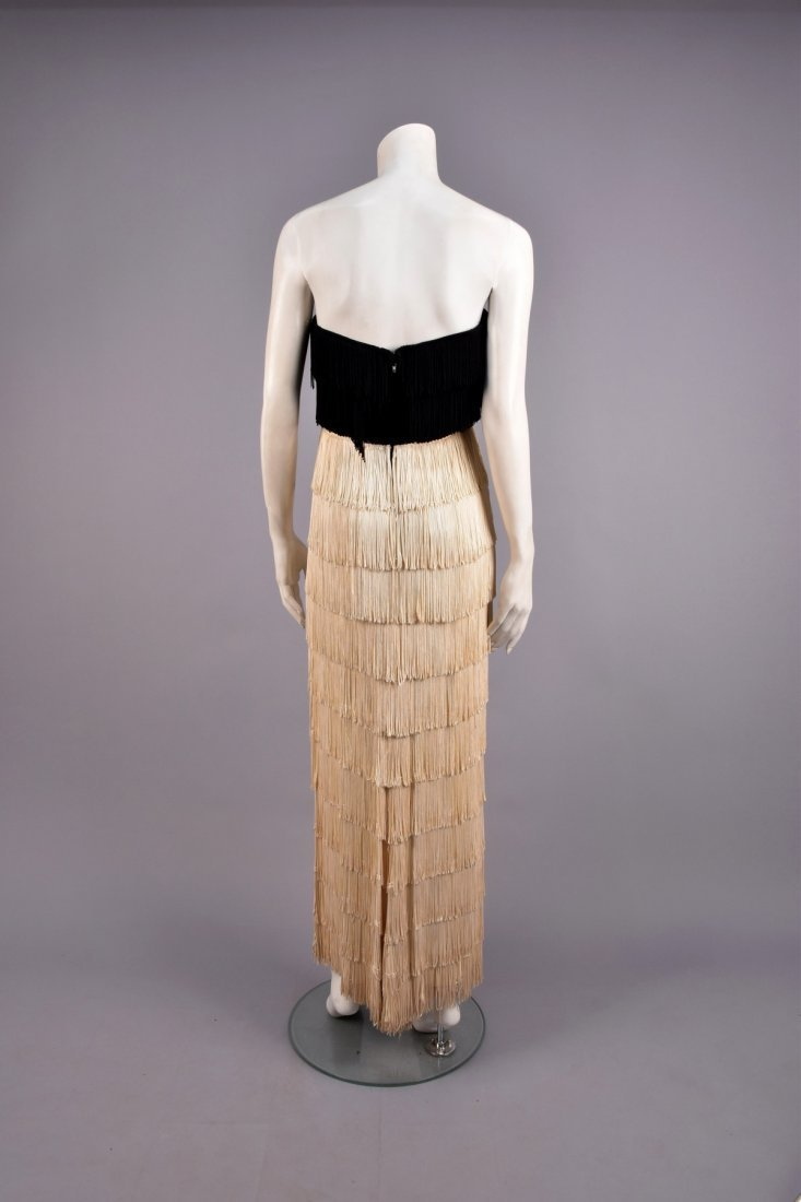2-TONE STRAPLESS FRINGED EVENING DRESS, 1940s - 2