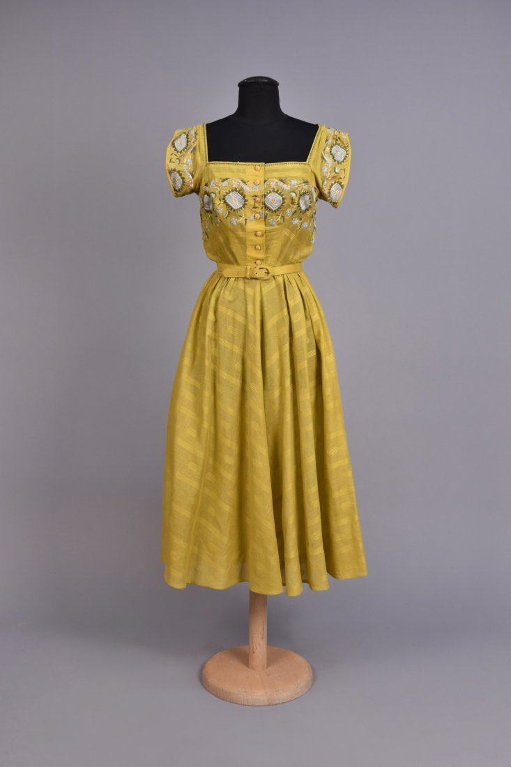 TINA LESER EMBROIDERED VOILE DRESS c. 1948