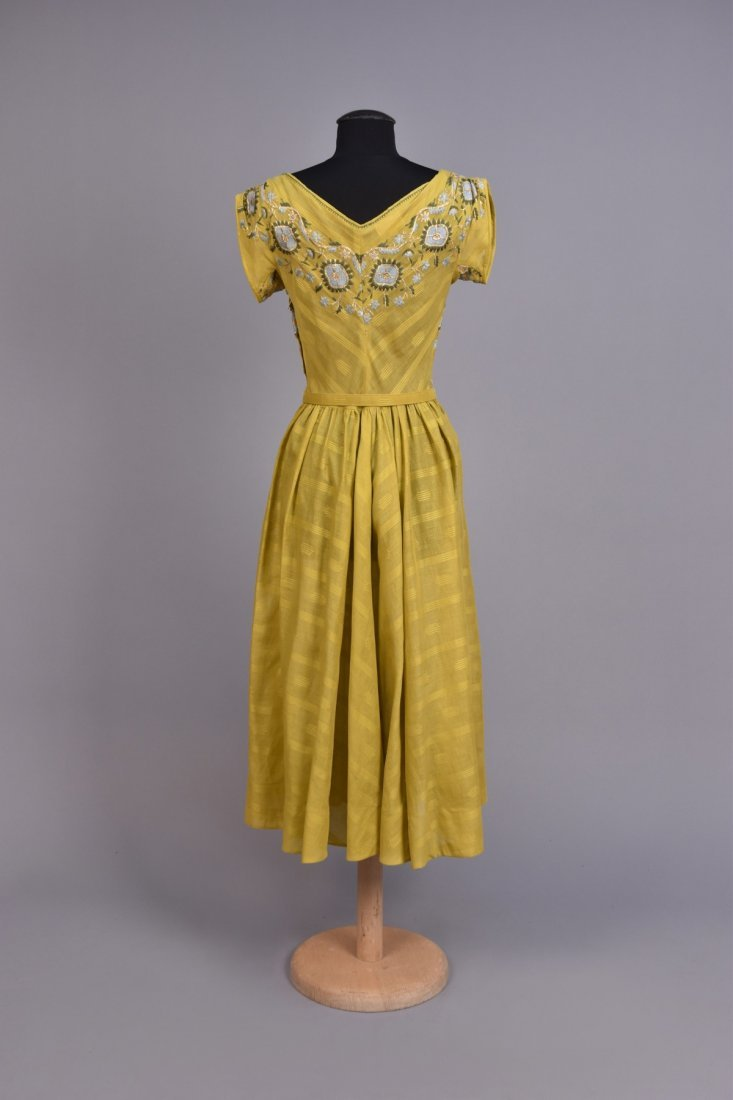TINA LESER EMBROIDERED VOILE DRESS c. 1948 - 2