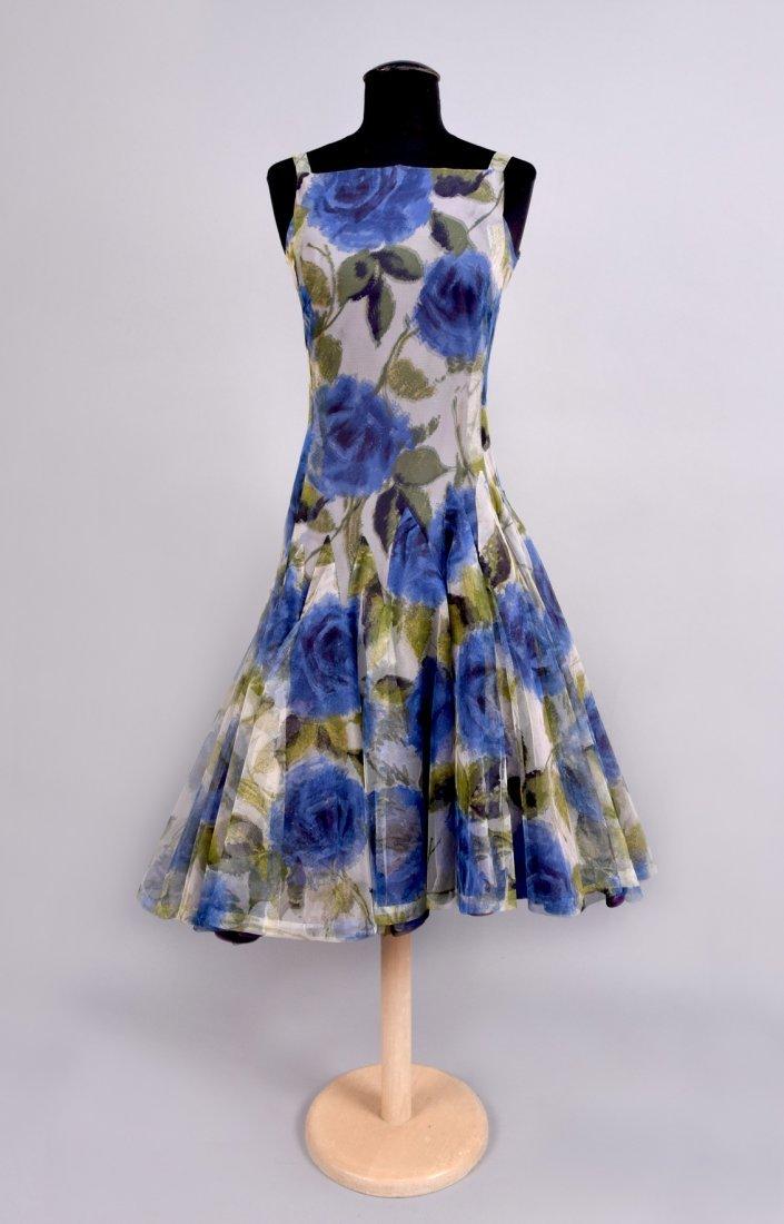 NINA RICCI ASYMMETRIC PRINTED TULLE PARTY DRESS, 1950s.