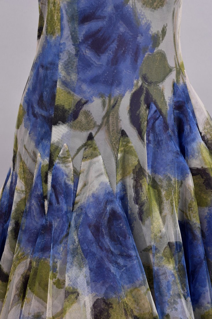 NINA RICCI ASYMMETRIC PRINTED TULLE PARTY DRESS, 1950s. - 2