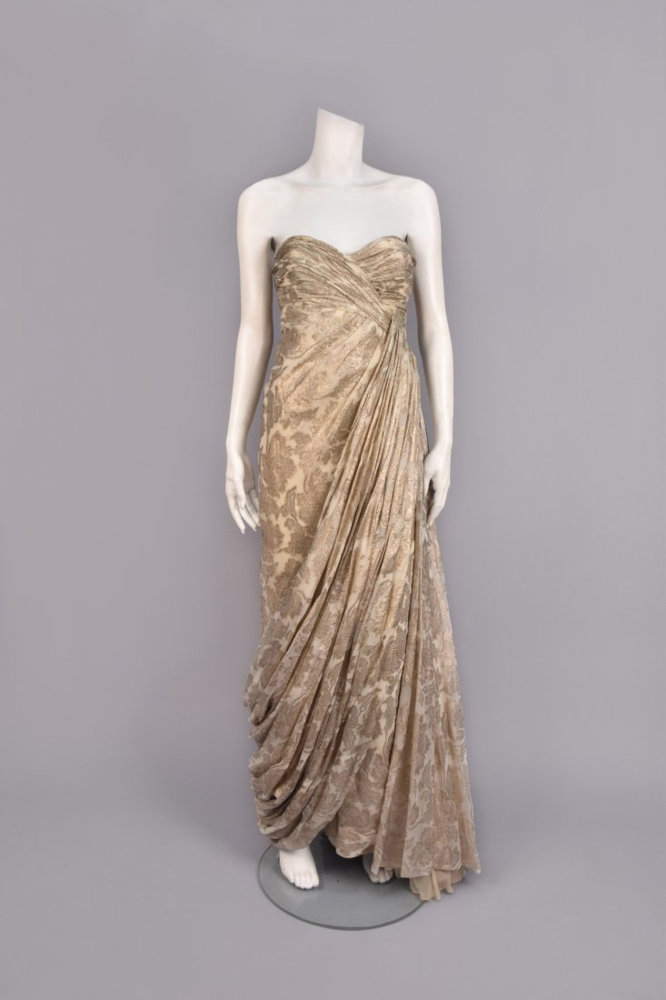 JEAN DESSES ATTRIBUTED BROCADE GOWN, 1950s