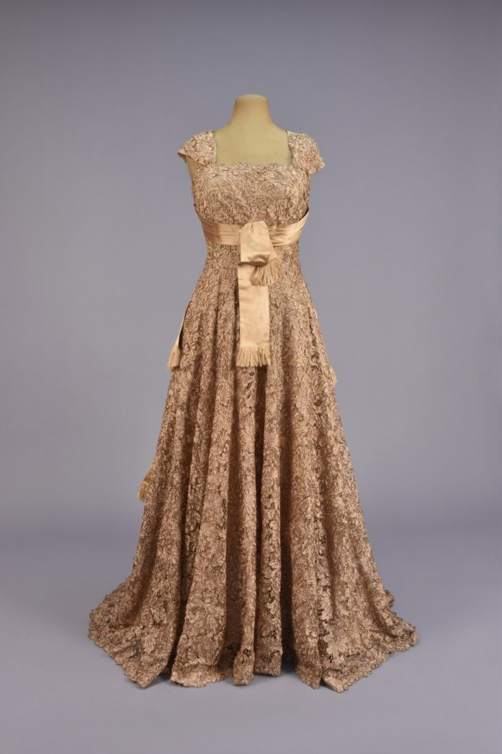 GALANOS GOLD SILK and LACE BALLGOWN, 1950s.