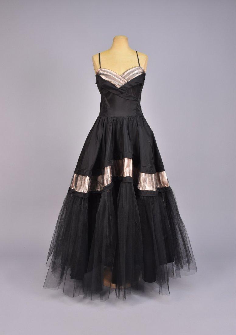 EMMA DOMB TAFFETA and NET PARTY DRESS, 1950s