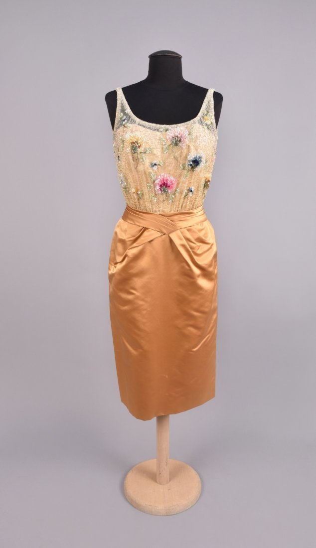 CEIL CHAPMAN SEQUINED COCKTAIL DRESS, 1950s