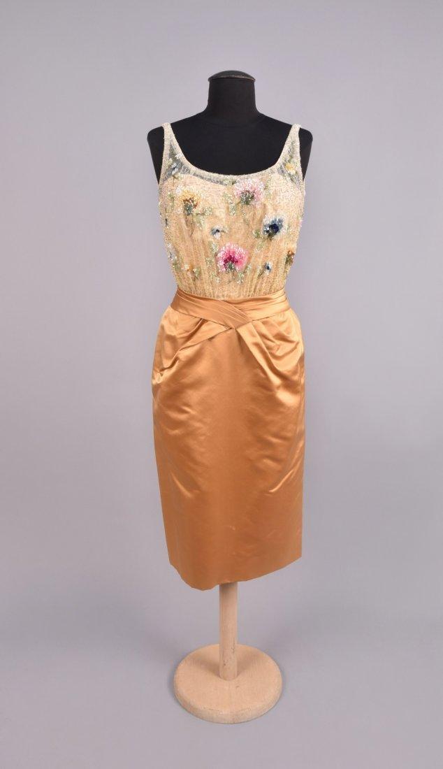 CEIL CHAPMAN SEQUINED COCKTAIL DRESS, 1950s