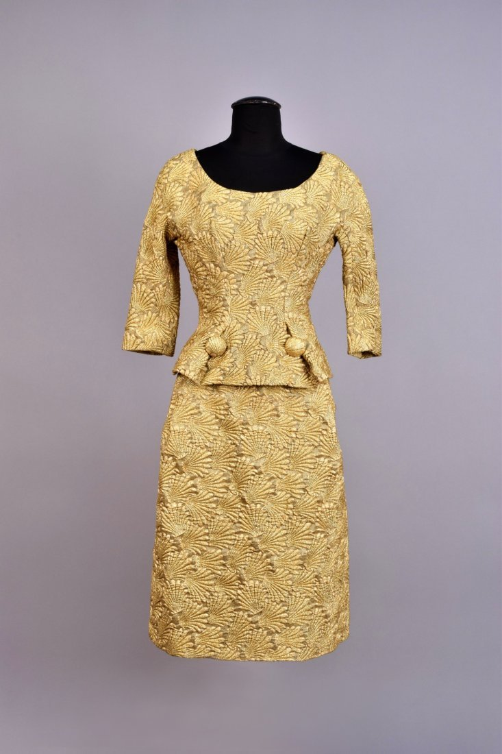 FRENCH METALLIC 2-PIECE COCKTAIL DRESS, 1950s.