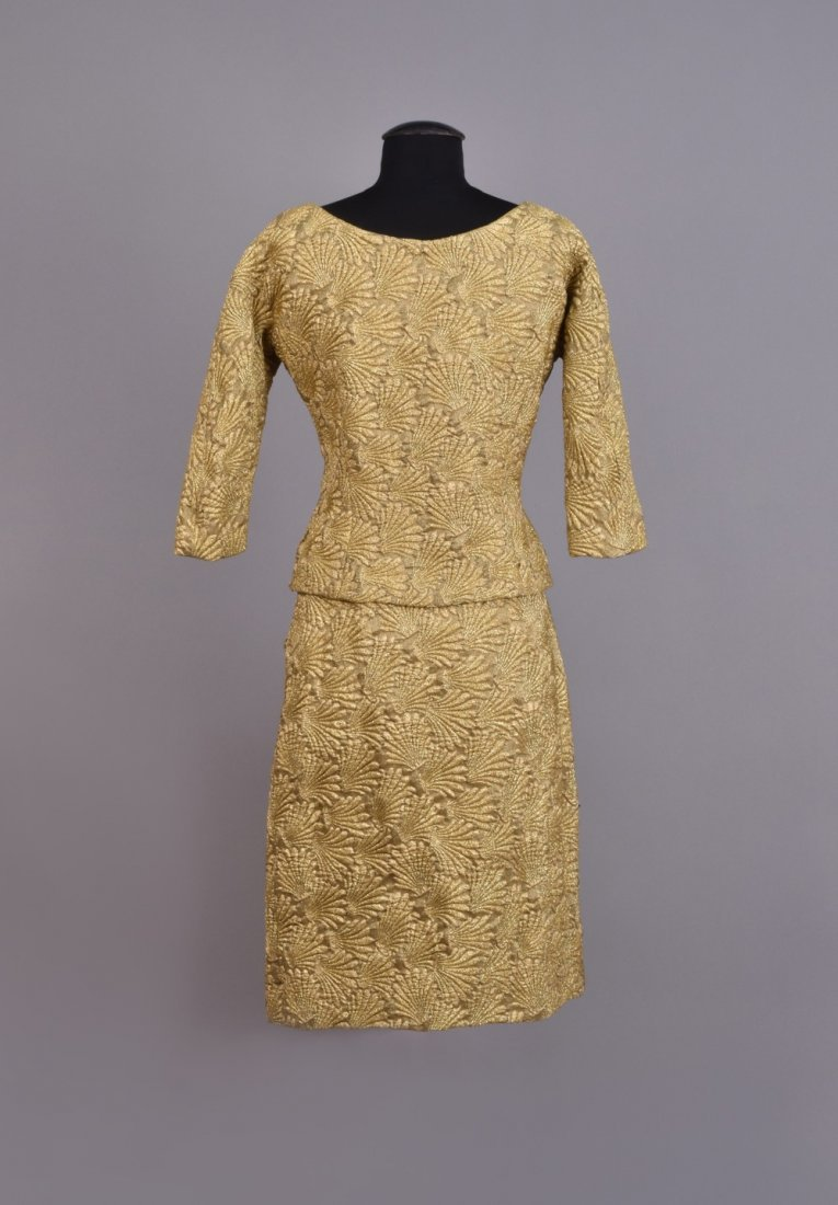 FRENCH METALLIC 2-PIECE COCKTAIL DRESS, 1950s. - 2