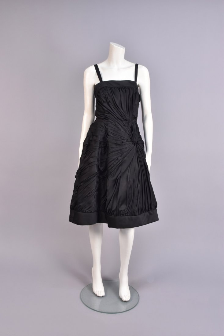 RUCHED BLACK COCKTAIL DRESS, 1950s,