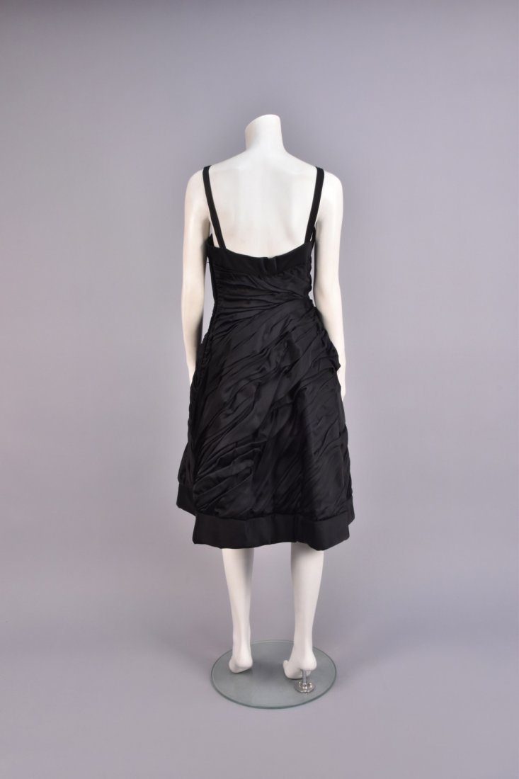 RUCHED BLACK COCKTAIL DRESS, 1950s, - 2