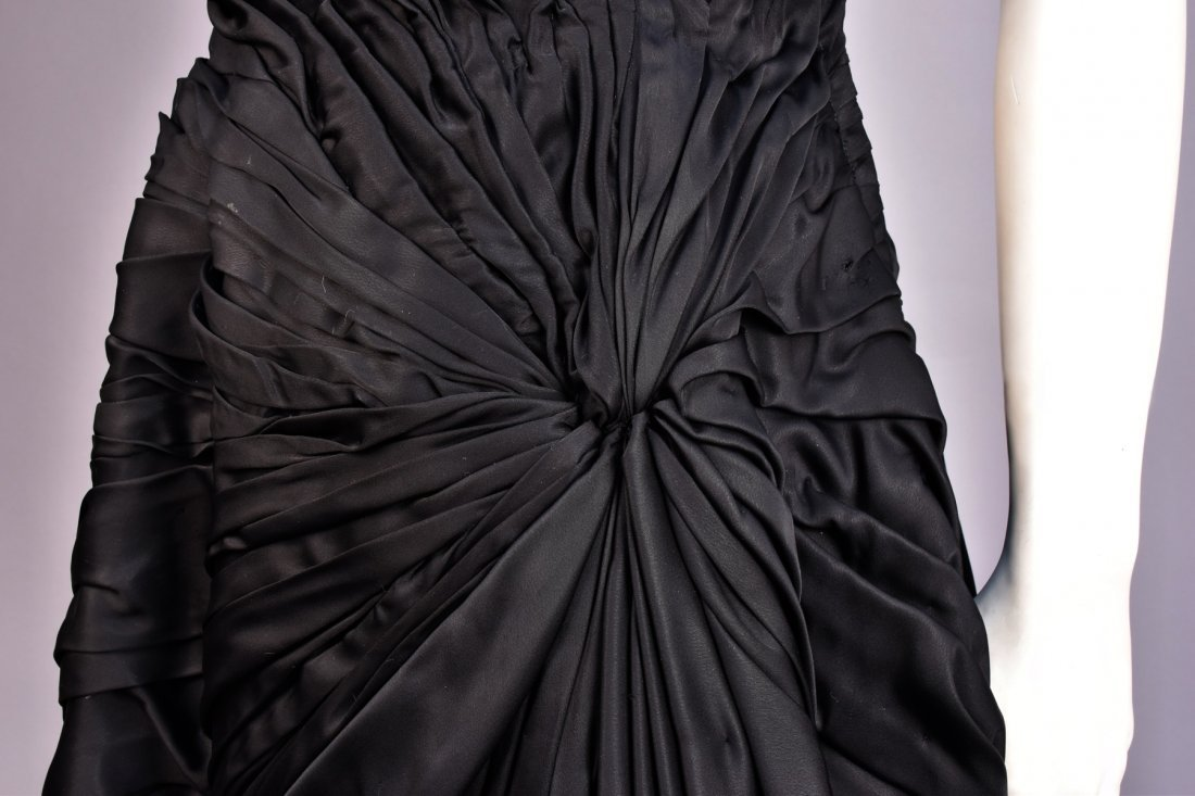RUCHED BLACK COCKTAIL DRESS, 1950s, - 3