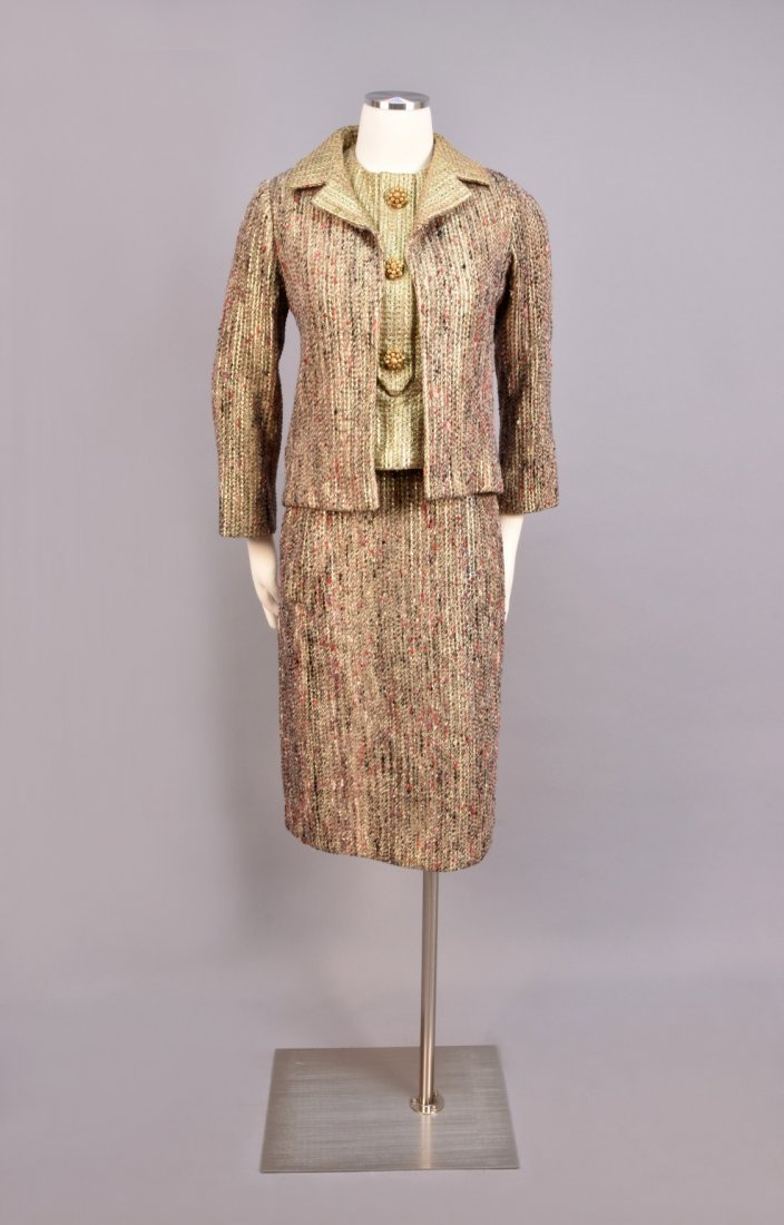 DIOR THREE-PIECE TWEED and METALLIC SKIRT SUIT, 1963