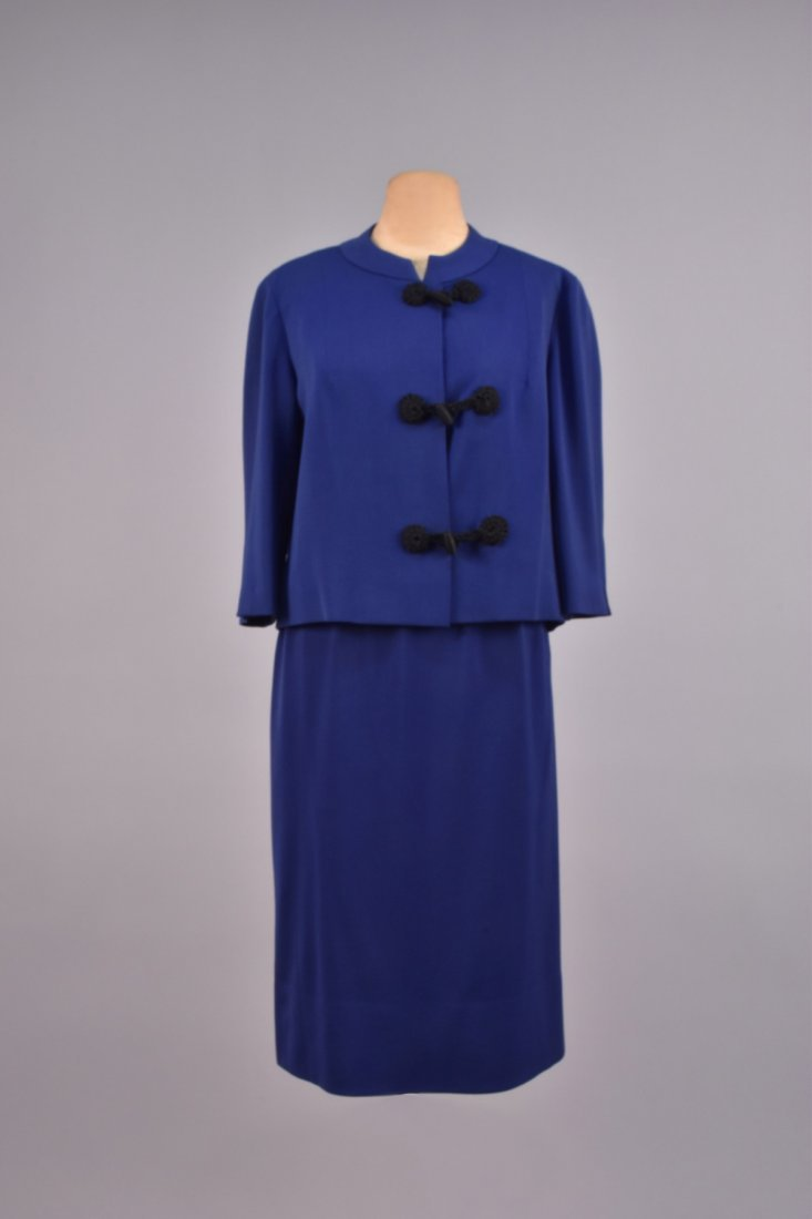 BALMAIN WOOL SKIRT SUIT with FROG CLOSURES, 1950s.