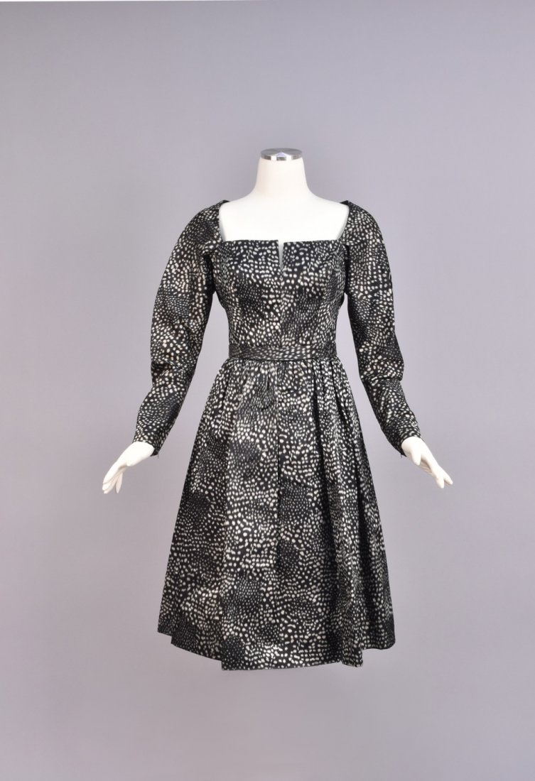 GALANOS WARP PRINTED SILK DAY DRESS, 1950s.