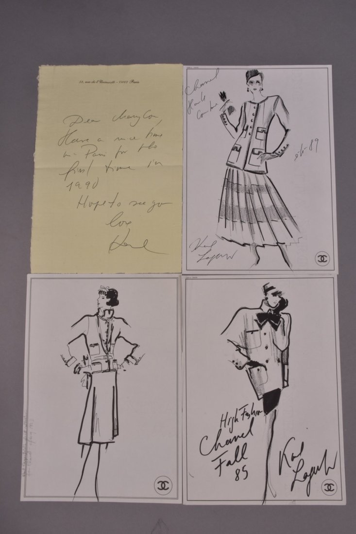 THREE KARL LAGERFELD for CHANEL FASHION ILLUSTRATIONS