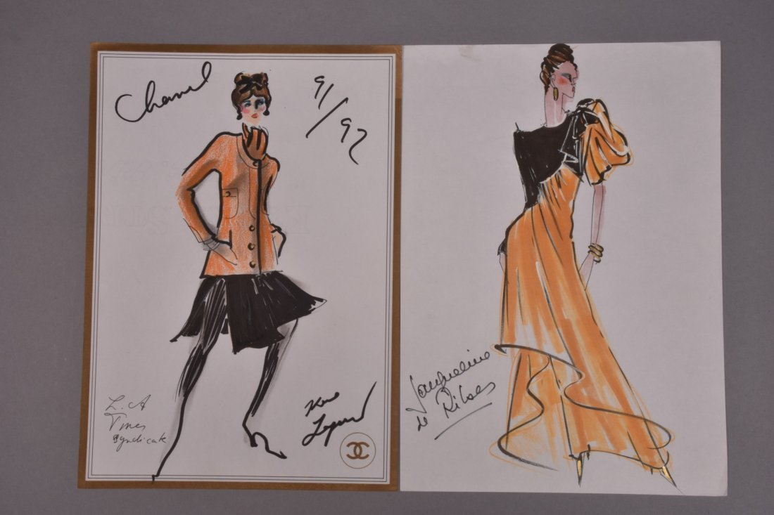 LAGERFELD and DE RIBES ORIGINAL FASHION ILLUSTRATIONS