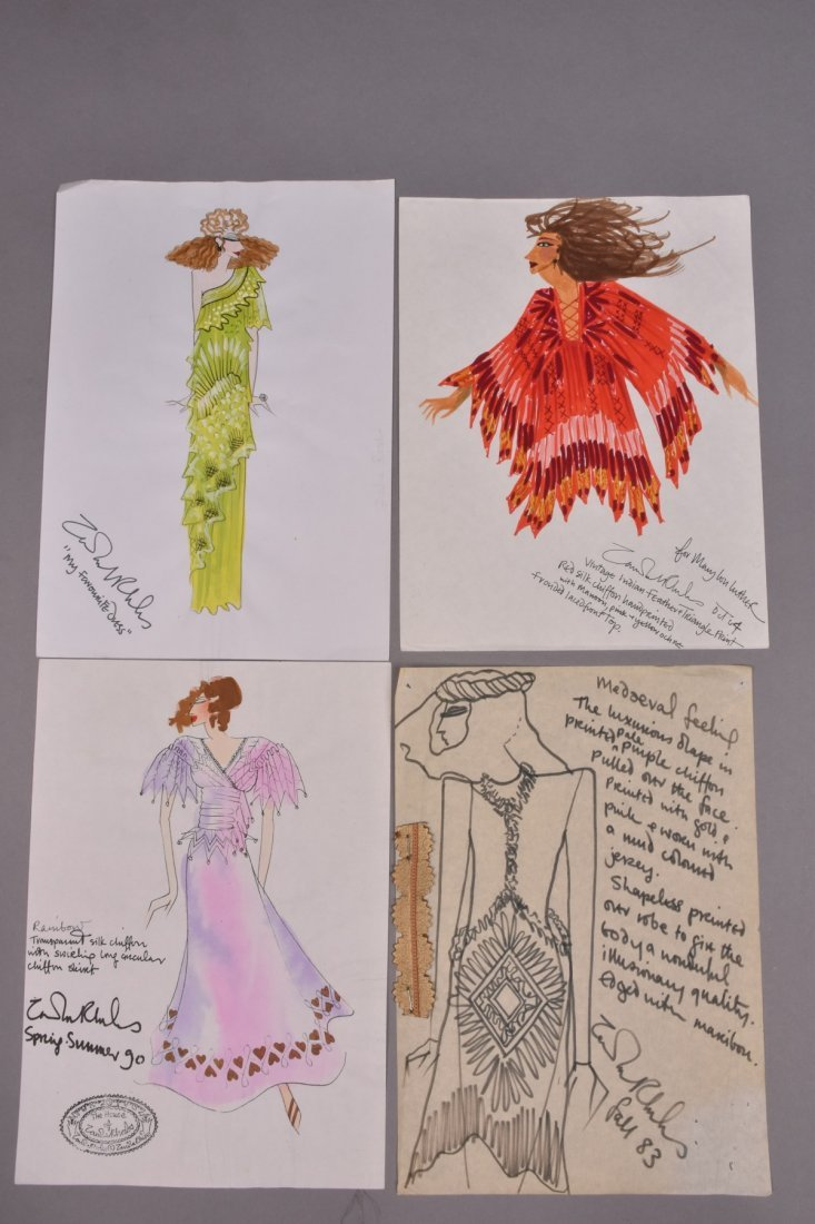 FOUR ZANDRA RHODES ORIGINAL FASHION ILLUSTRATIONS