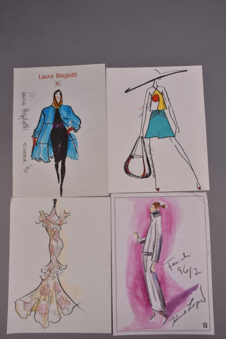 FOUR MIXED MEDIA FASHION ILLUSTRATIONS 1980s - 1990s