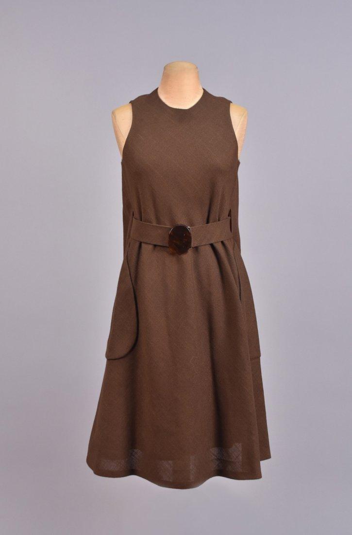 LEO NARDUCCI BELTED LINEN TENT DRESS, 1960s.