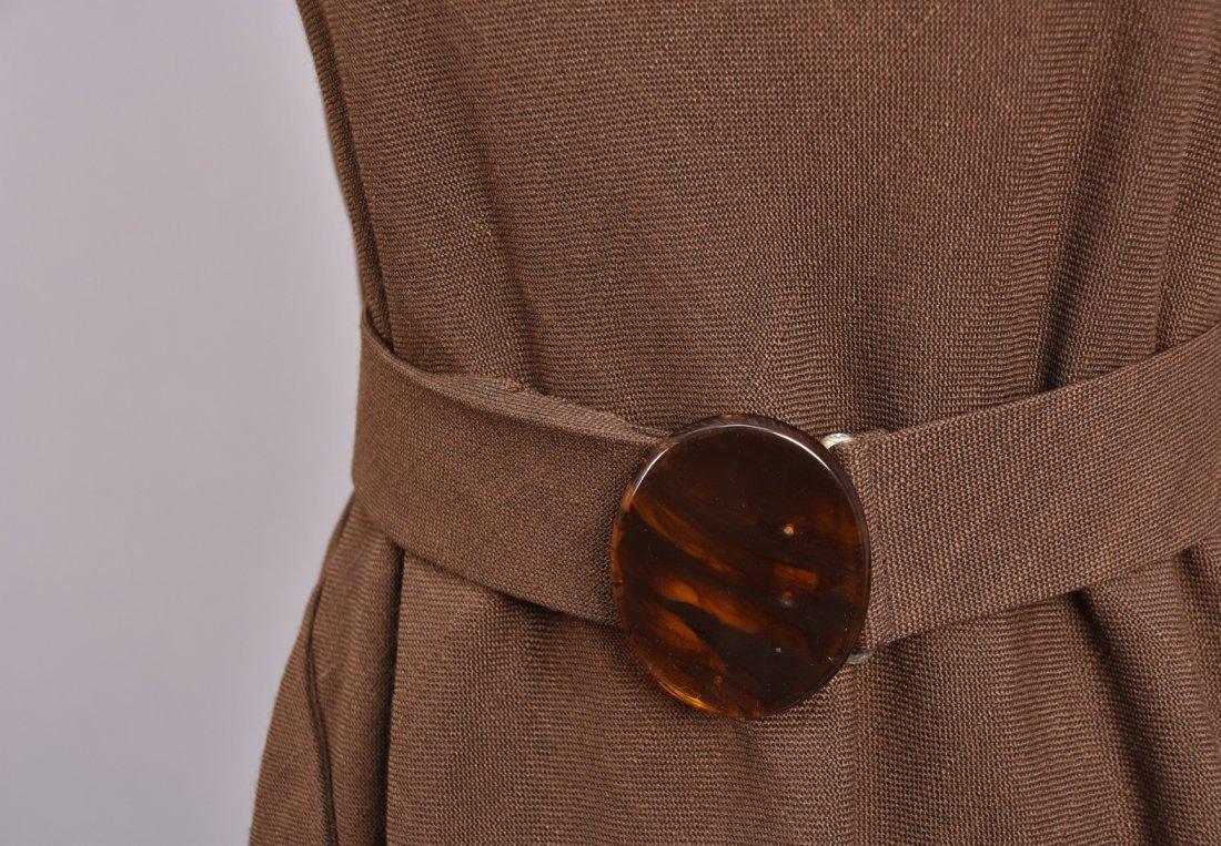 LEO NARDUCCI BELTED LINEN TENT DRESS, 1960s. - 3